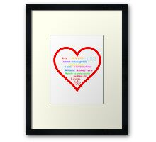 Love in languages Framed Print