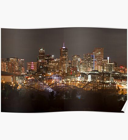 Denver Skyline At Night Poster