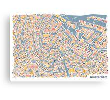 Amsterdam City Map Canvas Print