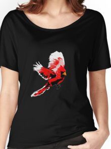 Painted Cardinal Design Women's Relaxed Fit T-Shirt