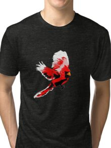 Painted Cardinal Design Tri-blend T-Shirt