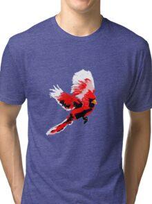 Painted Cardinal Design Tri-blend T-Shirt