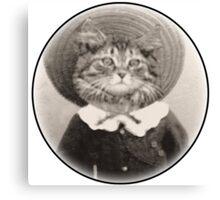 vintage hat cat Canvas Print