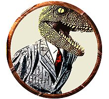 Dinosaur in a suit Photographic Print