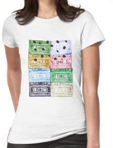 Colourful Retro Vintage Cassette Tapes Leafs Womens Fitted T-Shirt