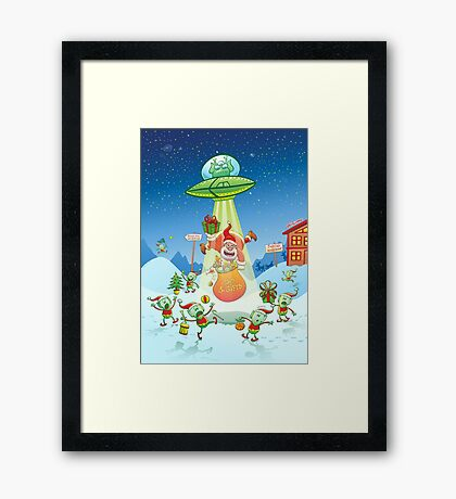 Santa Claus Abducted by a UFO just before Christmas Framed Print