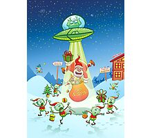 Santa Claus Abducted by a UFO just before Christmas Photographic Print