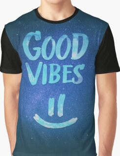 Good Vibes - Funny Smiley Statement / Happy Face (Blue Stars Edit) Graphic T-Shirt