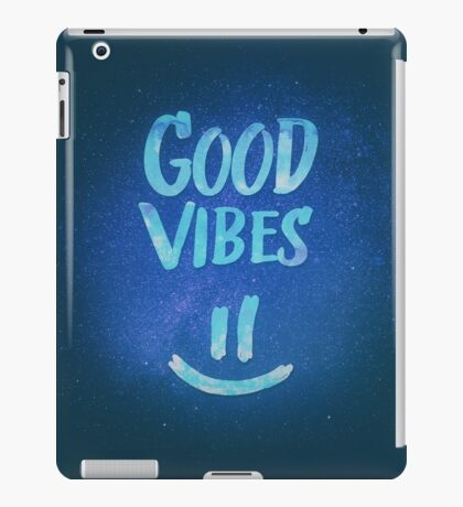 Good Vibes - Funny Smiley Statement / Happy Face (Blue Stars Edit) iPad Case/Skin