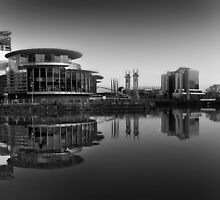 Salford Quays Panorama (B&W) by Stephen Knowles