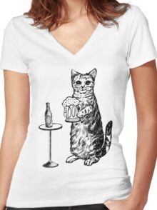 Real Cat Love Beer Women's Fitted V-Neck T-Shirt