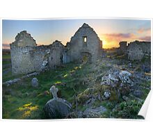 Abbey at sunset Poster
