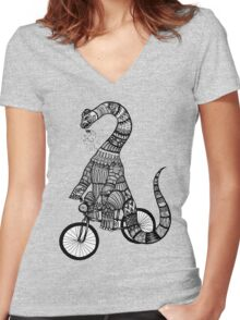 Brontosaurus Love Pipe  Women's Fitted V-Neck T-Shirt