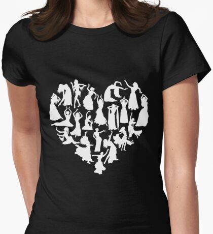 Belly Dance Heart Tshirt Womens Fitted T-Shirt