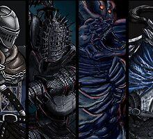 Dark Souls: Oscar, Kirk, Manus, Artorias card by MenasLG