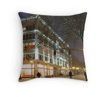 winter streetscape Throw Pillow
