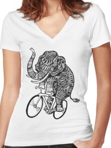 Elephant Aztec on a Bicycle  Women's Fitted V-Neck T-Shirt
