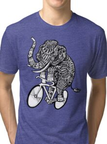 Elephant Aztec on a Bicycle  Tri-blend T-Shirt