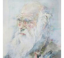CHARLES DARWIN - watercolor portrait.6 Photographic Print