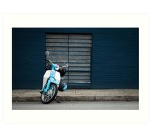 Blue Scooter, Blue Wall Art Print