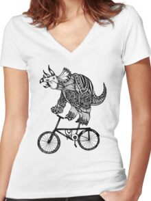 Triceratops on a Bike  Women's Fitted V-Neck T-Shirt