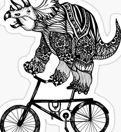 Triceratops on a Bike  Sticker