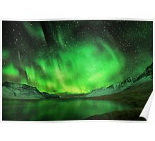 Aurora over a fiord Poster