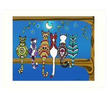 Pop Art Zentangle Cats Lovers Moon Color Art Print