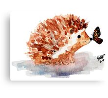 Hedgehog and Butterfly Kisses Canvas Print