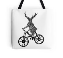 Funny Deer Aztec on a Bicycle  Tote Bag