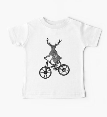 Funny Deer Aztec on a Bicycle  Baby Tee