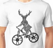 Funny Deer Aztec on a Bicycle  Unisex T-Shirt