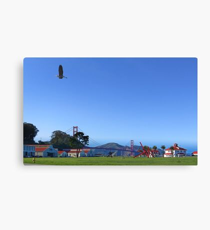 Blue Heron Blue Sky Crissy Field  Canvas Print