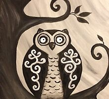 Abstract Black and White Owl by AmandaF84