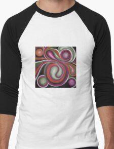 Abstract Whirly Swirls Men's Baseball ¾ T-Shirt