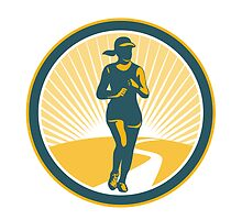 Female Marathon Runner Circle Retro by patrimonio