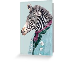 Zebra Blue Greeting Card