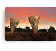Sunset At Water Dance Sculptures Canvas Print