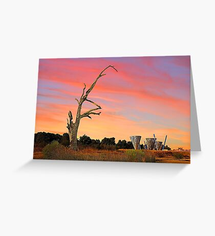 Sunset At Water Dance Sculptures Greeting Card