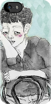 Sitting boy; illustration by Julia Major