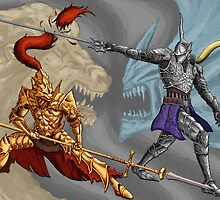 Dark Souls/Demon's Souls: Ornstein vs Penetrator print by MenasLG