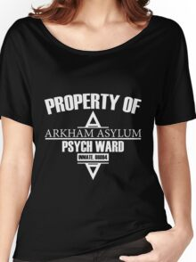 Arkham Asylum // Psych Ward Inmate Design // White Font Women's Relaxed Fit T-Shirt
