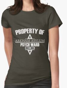 Arkham Asylum // Psych Ward Inmate Design // White Font Womens Fitted T-Shirt