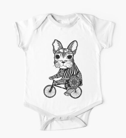 Funny Big Mouse Rat on a Bicycle  One Piece - Short Sleeve