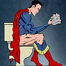 Superhero On Toilet by Wyattdesign