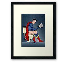 Superhero On Toilet Framed Print