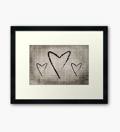 Black and White Hearts Framed Print