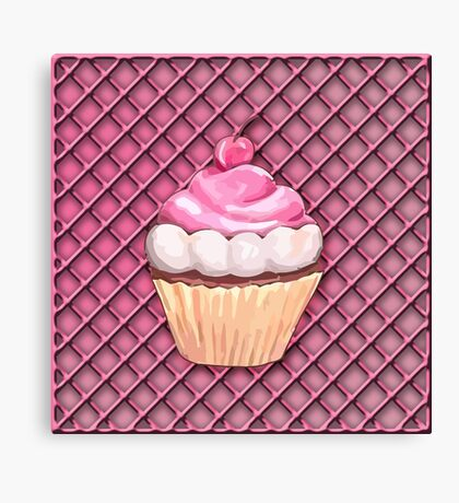 Cupcake on a Pink Frosting Background Canvas Print