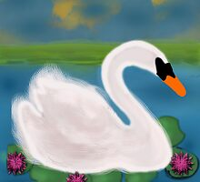 White Swan in Pond by tsuttles