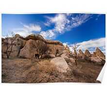 Stone Huts: Hiking in Cappadocia, Turkey Poster